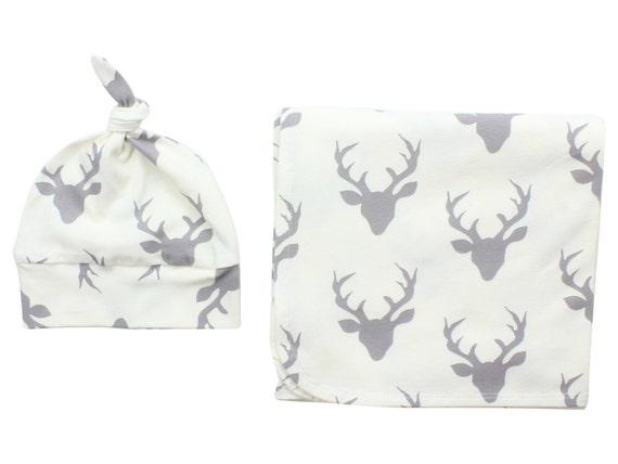 Ivory Cream Gray Buck Deer Newborn Swaddle Set Swaddle Blanket Boy Top Knot Hat Boy Swaddle Set Stag Deer Blanket Jersey Swaddle Blanket