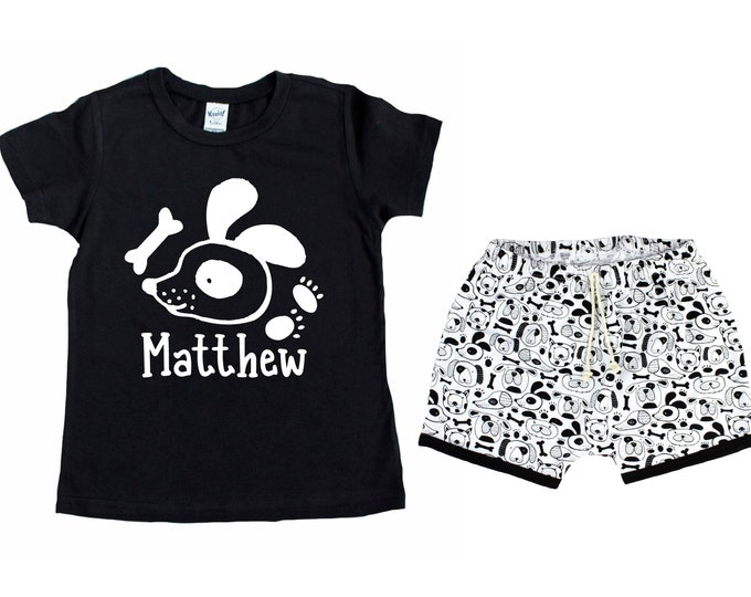 Boy Puppy Dog Short Sleeve Shirt Personalized Outfit Dog Baby Toddler Birthday Party Puppy Paw Print Shirt Boy Puppy Black Unisex T-Shirt