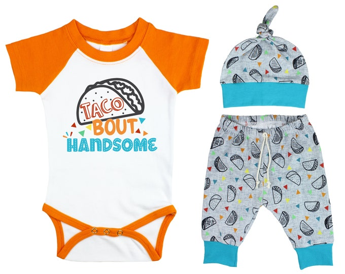 Boy Taco Raglan Outfit Taco Bout Handsome Onesie Taco Fiesta Nachos Top Knot Hat Shirt Boy Taco Tuesday Party Unisex Pants Knot Hat