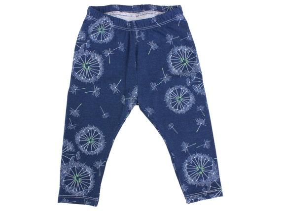 Navy Blue Dandelion Baby Leggings Flower Toddler Leggings Girl Leggings Floral Leggings Girl Baby Pants Floral Floral Baby Gift Blue Floral