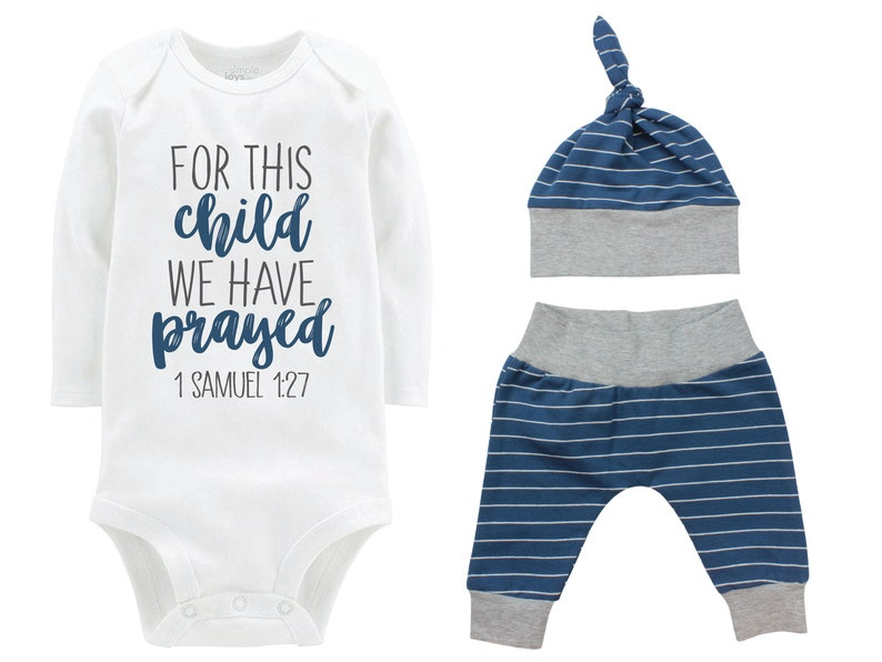 Boy For This Child We Have Prayed Going Home Outfit Yoga Pants Navy Gray Stripe Boy Coming Home Top Knot Hat Baby Shower Gift Newborn Baby