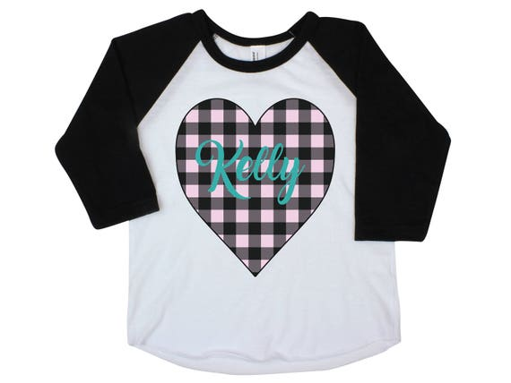 Girl Buffalo Plaid Heart Shirt Valentine's Pink Teal Plaid Heart Personalized Onesie Black Raglan Girl Shirt Valentine's Day Black Name