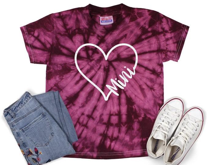 Mini Heart Tie Dye Shirt Shirt Mini Mom Grandma Matching Shirts Galaxy Bright Black Glitter Vinyl Inspirational Motivational Heart Shirt