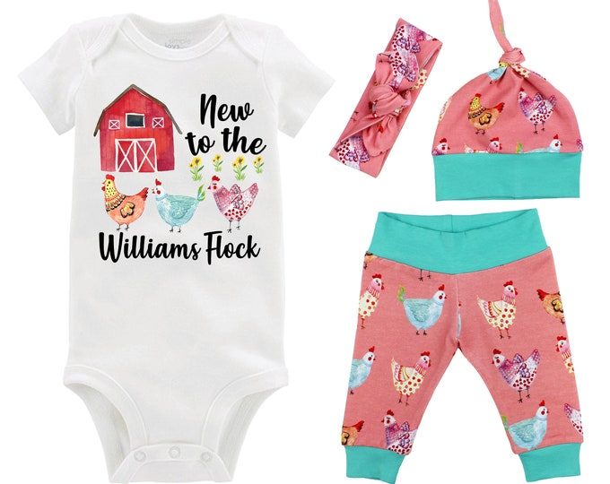 New to the Flock Baby Girl Coming Home Outfit Red Barn Chicken Baby Outfit Going Home Personalized Yoga Leggings Knot Hat Headband