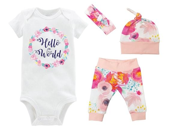 Hello World Watercolor Floral Newborn Coming Home Set Onesie Infant Watercolor Floral Yoga Leggings Top Knot Hat Headband Infertility Onesie