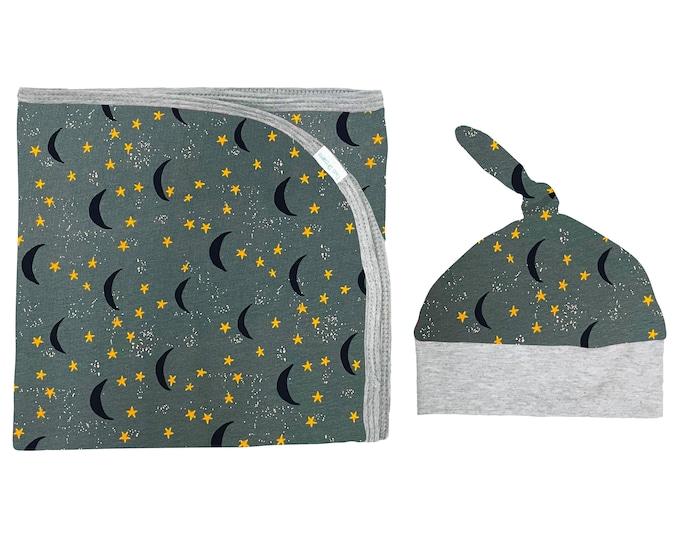 Soft Green Moons Stars Space Newborn Swaddle Set Boy Blanket Top Knot Hat Jersey Knit Infant Gift Set Baby Shower Moon Boyish Navy Blue Gray