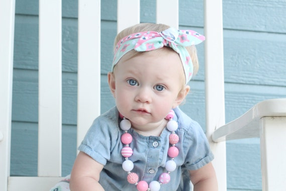 caf9182a318 Mint and Pink Tribal Baby Top Knot Headband Aztec Adult Knot
