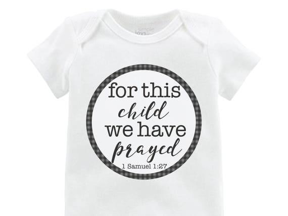"Boy ""for this child we have prayed"" Gray Black Buffalo Plaid We Have Prayed Adoption Infertility Onesie Boy Newborn Going Home Outfit Raglan"