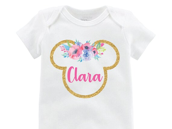 Glitter Sparkle Minnie Floral Ears Onesie Personalized Flutter Sleeve Minnie Mouse Black Raglan Birthday Shirt Girl Monogram Spring Flowers