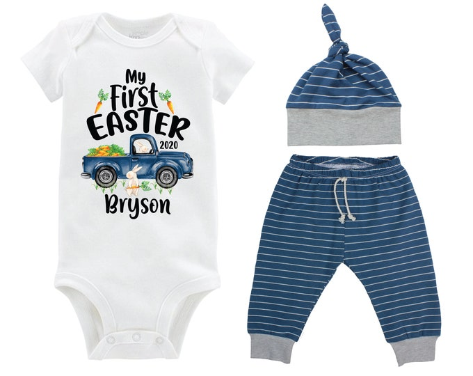 Boy First Easter Outfit Personalized Baby Easter Bunny Truck Boy Stripe Pants Carrots Going Home Outfit Gray Navy Boy Baby Gift Boyish Bunn