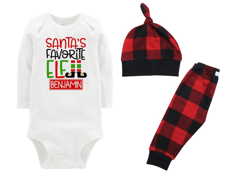 Santa/'s Favorite Elf Personalized Christmas Outfit Boy Christmas Bodysuit Red Black Buffalo Flannel Pants Winter Boy Red Black Buffalo Plaid