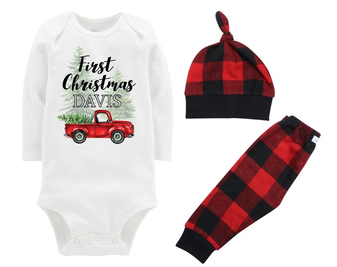 Boy First Christmas Outfit Personalized Old Red Truck Christmas Tree Bodysuit Buffalo Plaid Pants Winter Boy Red Gray Black Buffalo Plaid