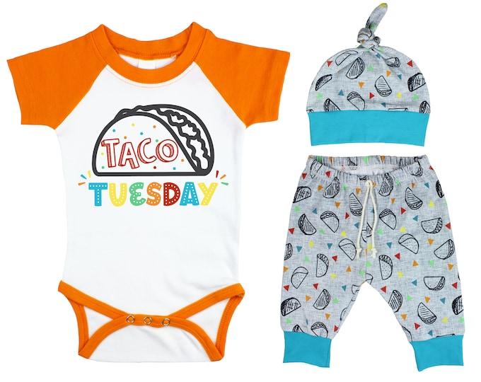 Boy Taco Raglan Outfit Taco Tuesday Baby Onesie Taco Fiesta Nachos Top Knot Hat Shirt Boy Taco Tuesday Party Unisex Pants Knot Hat