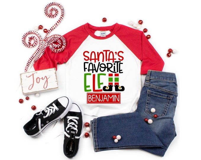 Santa's Favorite Elf Christmas Shirt Boy Personalized Christmas Shirt Girl Christmas Shirt Unisex Christmas Shirt Black Raglan Red Raglan