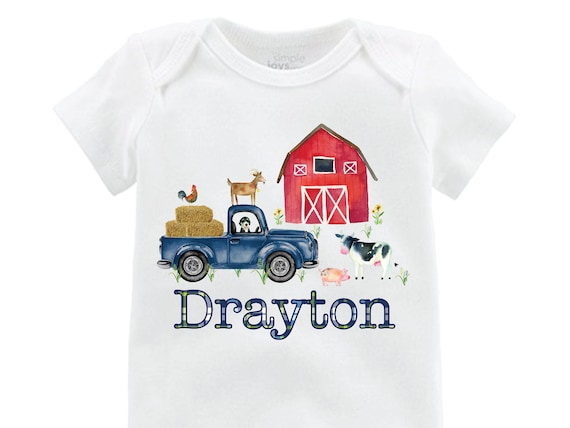 Boy Farm Shirt Red Barn Old Truck Personalized Boy Shirt Onesie Bodysuit Boy Red Barn Cow Pig Chicken Shirt Farming Shirt On the Farm