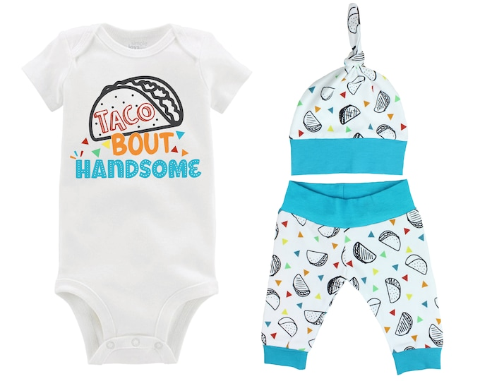 Boy Taco Outfit Taco Bout Handsome Baby Onesie Taco Fiesta Nachos Top Knot Hat Shirt Boy Taco Tuesday Party Unisex Pants Knot Hat