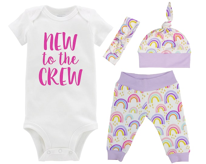 New to the Crew Rainbow Baby Girl Coming Home Outfit Pastel Watercolor Rainbow Yoga Leggings Knot Hat Headband Miscarriage Infant Loss