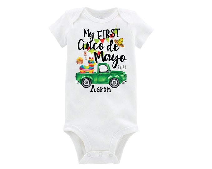 My First Cinco de Mayo Bodysuit Green Truck Fiesta Boy Baby Personalized Monogrammed Long or Short Sleeve Tacos Piñata Maraca 5th of May
