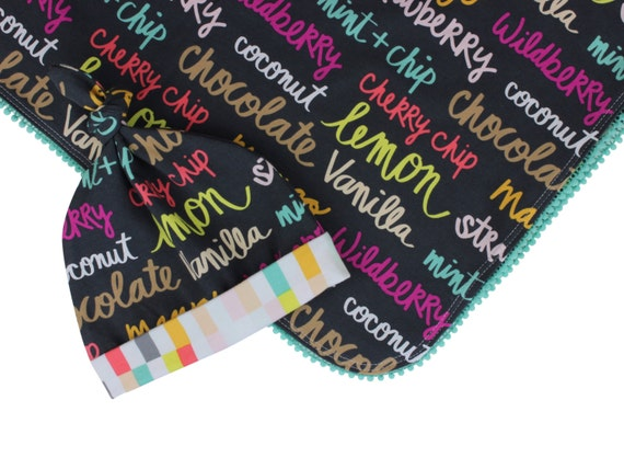 Newborn Swaddle Set Swaddle Blanket Top Knot Hat Knot Headband Flavor of the Day Ice Cream Pom Pom Blanket Jersey Swaddle Baby Blanket