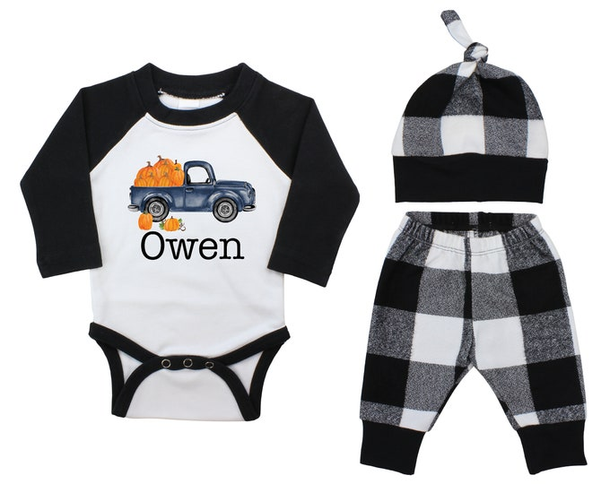Boy Pumpkin Truck Personalized Outfit Fall Baby Raglan Outfit Fall Plaid Pants Knot Hat Pumpkins Old Truck Maroon Mustard Gray Baby Raglan
