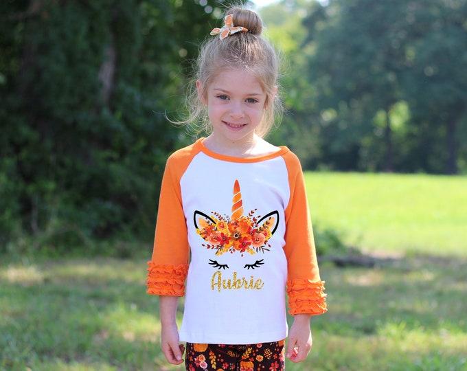 Fall Unicorn Face Orange Ruffle Raglan Shirt Personalized Flutter Sleeve Fall Floral Girl Shirt Watercolor Floral Orange Flowers