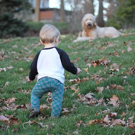Teal Gray Checkers Baby Leggings Boy Leggings Girl Leggings Gray Unisex Leggings Girl or Boy Baby Pants Toddler Pants CHOOSE SIZE