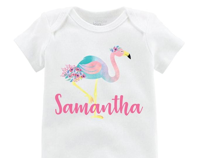 Girl Flamingo Bodysuit Flamingo Shirt Personalized Floral Raglan Flutter Sleeve Girl Shirt Leotard Monogram Shirt Floral Flamingo