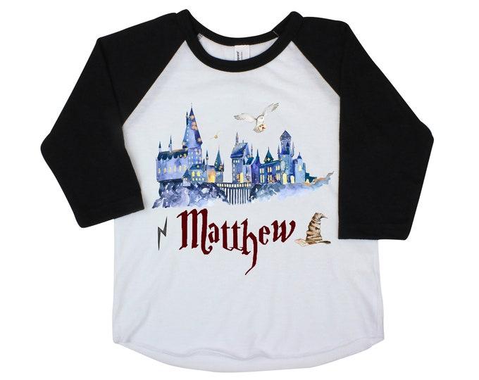 Wizard Magic Shirt Personalized Boy Wizard School Shirt Name Unisex Wizard Shirt Hat Owl Castle Black Raglan Baby Bodysuit Long Sleeve Short