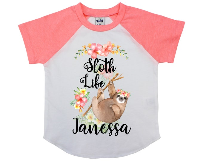 Sloth Life Girl Shirt Personalized Watercolor Floral Tropical Flowers Yellow Coral Peach