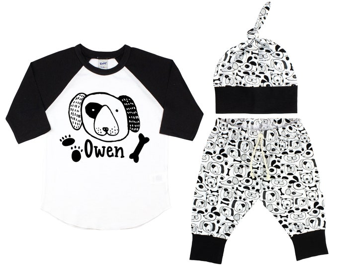 Boy Puppy Dog Raglan Outfit Personalized Outfit Dog Baby Toddler Top Knot Hat Puppy Paw Print Shirt Boy Puppy Dog Unisex Pants T-Shirt