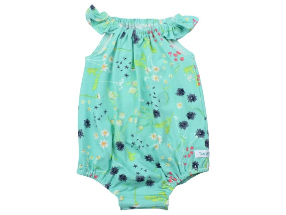 21b37241b0d9 Baby Romper with Snaps Aqua Floral Baby Romper Summer Floral