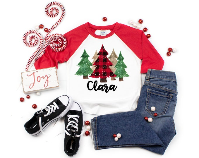 Girl Red Plaid Snowy Green Gold Watercolor Christmas Trees Personalize Red Black Raglan Unisex Pine Trees Christmas Tree Shirt Winter Shirt