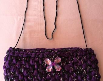 Pochette soirée violet/noir