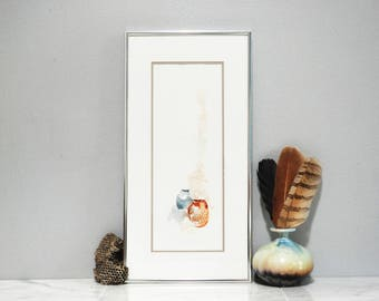 Framed and Matted Original Watercolor Painting / Mystic Pots / Still Life of Pottery and Curling Smoke / Signed M. Thousand