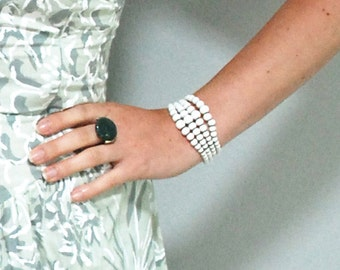 White Stacked Beads and Wire Wrap Flex Cuff Bracelet Retro Vintage 1950s