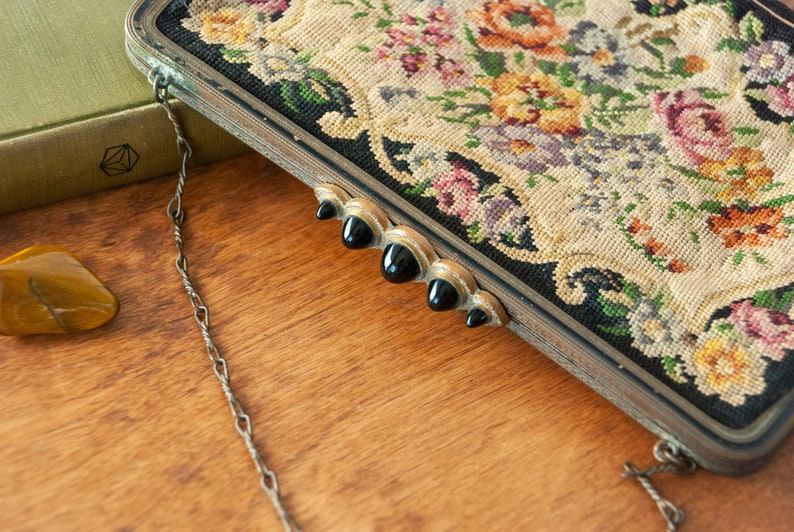 Metal Frame Antique Petit Point Tapestry Purse with Fabulous Five Stone Black Glass Cabochon Clasp and Chain Handle  Hand Bag  Austria
