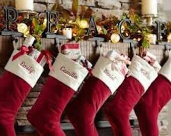 christmas stockings velvet personalized monogram handmade - Red Velvet Christmas Stockings