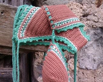 crochet bikini in salmon tan Loved By Nature Crochet swimwear Crochet swimsuit Crochet bathingsuit Boho bikini Hippie Crochet beachwear