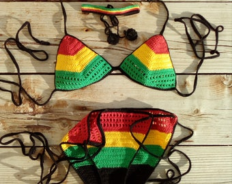 e8bc70d6a7 crochet bikini set Rasta crochet bikini Red Yellow Green bikini crochet Jamaican  Bikini Crochet Jamaican flag bikini Triangle Bikini