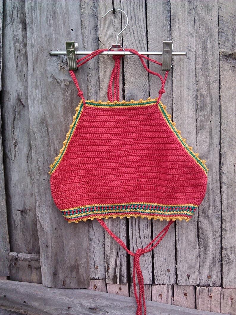 4a81be86cca Crochet top Red Jamaica Festival Crochet Top Rasta Crop Top   Etsy