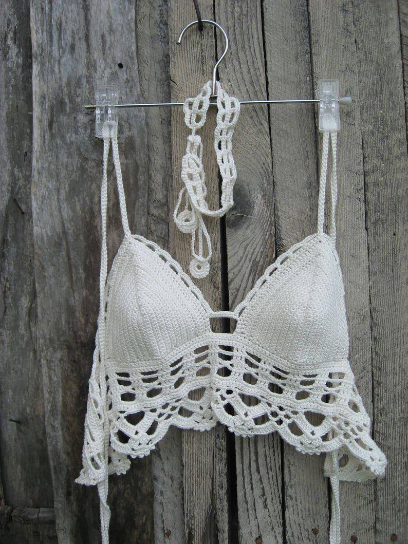 a0536b87e6c Crochet bralette top with white choker White Wedding Top   Etsy