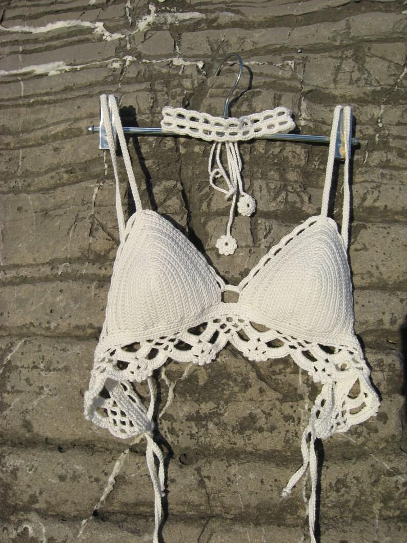 bb181e8126d Crochet bralette with choker white Lazy Morning Festival   Etsy