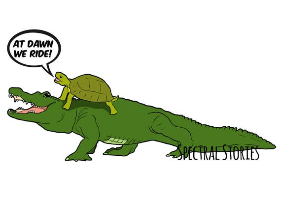 cartoon drawing of an alligator and turtle at dawn we ride etsy
