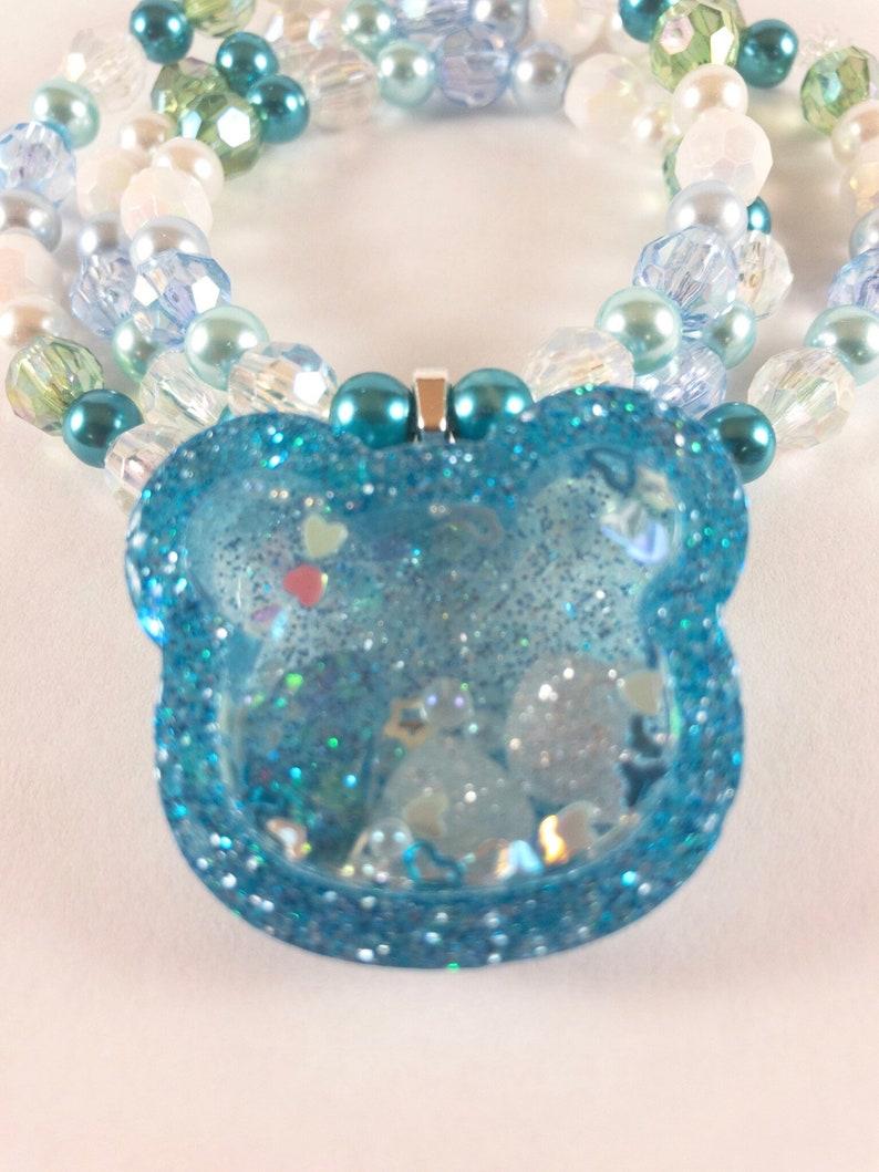 Blue Bear Resin Dry Shaker Charm Beaded Necklace