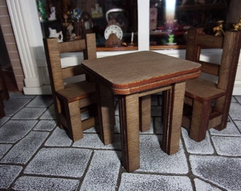 Primitive Table and Chair Sets. 1:12th Dolls House
