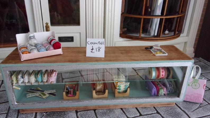 Haberdashery Counter in Sage and Pine 1:12th Dolls House image 0