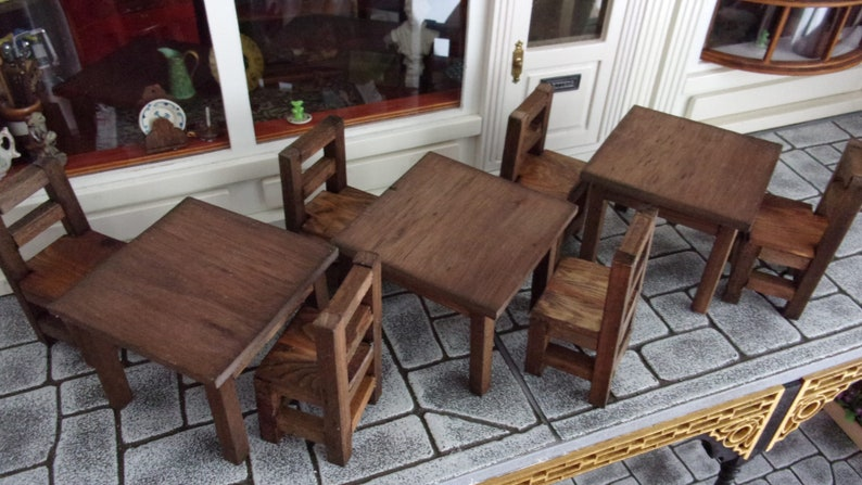 Set of 3 Primitive Tables and Chairs 1:12th Dolls House image 0