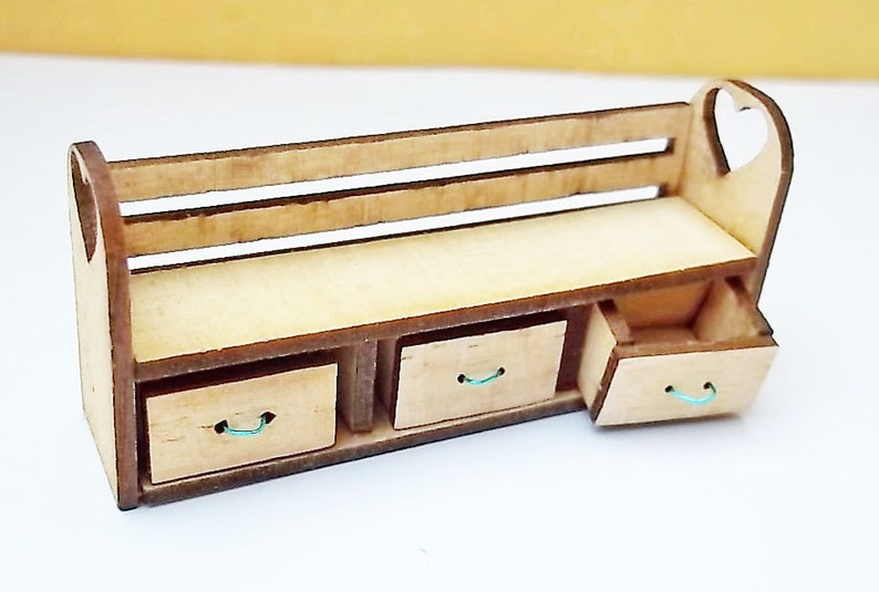 1:24th Child Bench and Storage  Kit Dolls House image 0