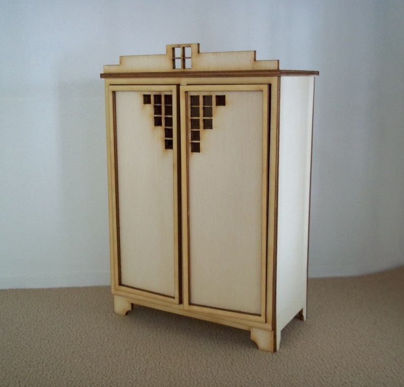 DH Kit  Art Deco Wardrobe Laser Cut Kit 1:12 image 0