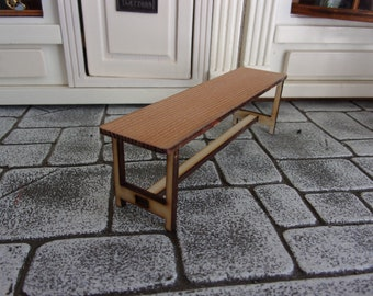 Small Childs Bench 1:12th Dolls House Real Pine Top